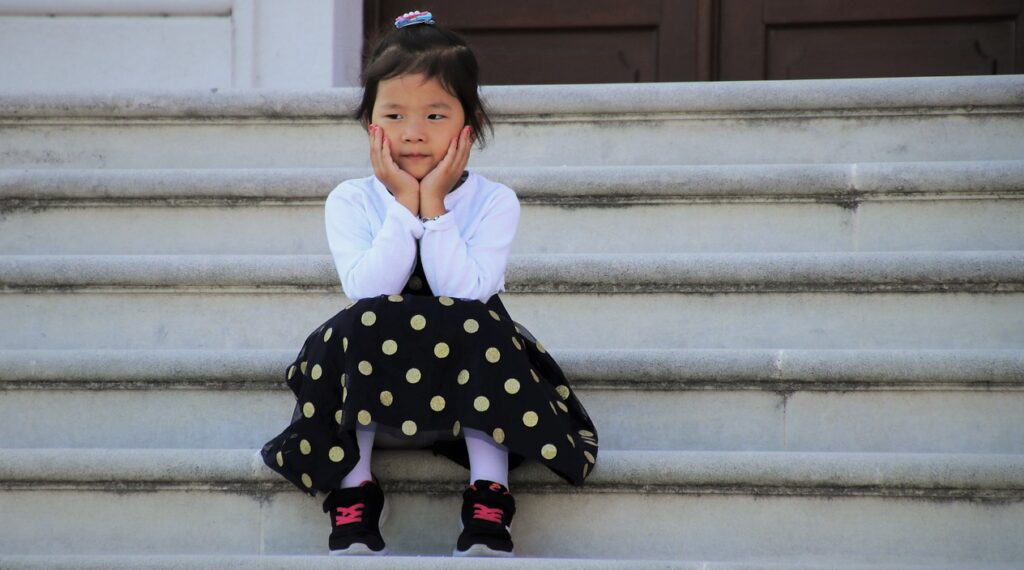 childhood, little girl, stairs